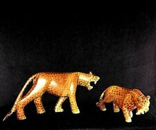 Primitive Hand Carved WOOD LEOPARDS Set/2 Spotted Cats VINTAGE