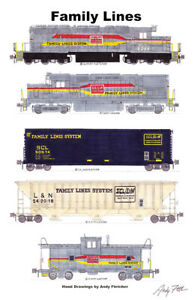 "Family Lines Freight Train 11""x17"" Railroad Poster Andy Fletcher signed"