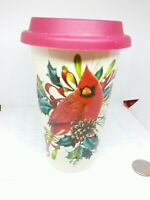 Lenox Thermal Travel Coffee Mug w/ Lid 12oz Winter Greeting- Cardinal