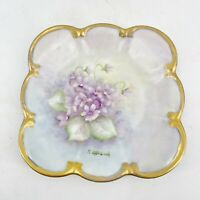 Antique Tirschenreuth Germany Hand Painted Artist Signed Plate Purple Violets