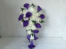 Wedding Flowers Ivory Rose Lillies Bouquet, Bride, Bridesmaid, Flower-Girl Wand