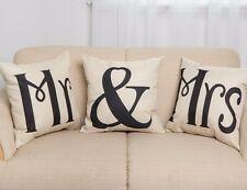 Pillow Case Cotton Linen MR & MRS letter Cushion Cover Home sofa bed pillowslip