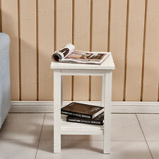 2 Tier White Solid Wood Bedside Table Side End Table Lamp Table Furniture