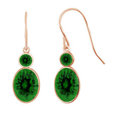 Emerald Dangle Earrings 18k Yellow Gold Plated 2.68 Cttw