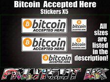 5x Bianco Bit Coin Adesivi Decalcomanie POS fino a fare acquisti p.o.s Store Pub Bar Segno BTC