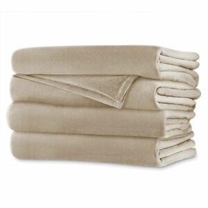Sunbeam Slumber Rest Channeled Velvet Plush Queen Size Heated Blanket Luxury C