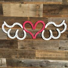 Horseshoe Heart with Wings - The Heritage Forge PinkHeart/WhiteWings
