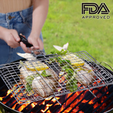 Portable BBQ Grilling Basket Stainless Steel Removable Wooden Grid Gap Heat Grip