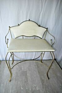 Vintage Gold Metal Vanity Chair Stool White Vinyl Seat MCM Hollywood Regency