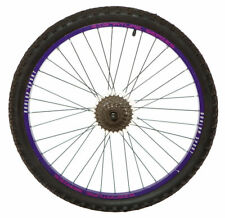 "REAR DUNLOP 26"" MTB BIKE WHEEL PURPLE RIM DISC HUB Inc 6Spd Cog BLK SPOKES TYRE"