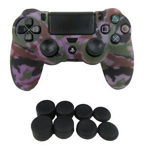 Silicone Grip Purple Camo Shell Non Slip + (8) Thumb Caps For PS4 Controller