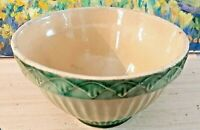Antique Stoneware Bowl - Yellow Ware 7 1/2  -  Cream & Green Diamond Pattern