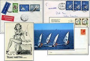 SPORT - SAILBOATING IN ITALY - 4 items Philately World Championships & Postcards
