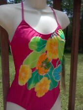 Vintage 80s DANSKIN Pink Floral Freestyle Swimsuit Bathing Suit Leotard NOS NWT