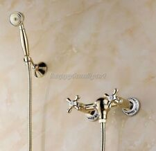 Gold Polished Brass Wall Mount Bathroom Hand Shower Faucet Set Mixer Tap ytf399
