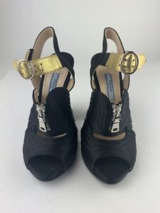 PRADA Black Satin Quilted Chunky Heel W/ Hold Strap Size 6