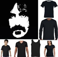 Frank Zappa Portrait Silhouette T-Shirt Electric Guitar Drums Keyboard Top