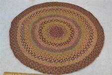 """antique braided silk chair pad mat doll house rug handmade 12.5"""" round original"""