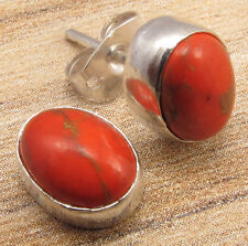 DELICATE ORANGE STUD CHEAP EARRINGS COPPER TURQUOISE ! 925 Silver Plated