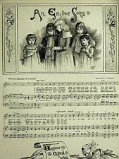 Sangster Hatton EASTER SONG NOTES MUSICAL SCALE 1886 Antique Engraving Matted