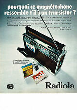 PUBLICITE ADVERTISING  1974    RADIOLA   magnétophone  transistor