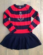Nautica Sportswear Girls Long Sleeve Striped Sweater Cotton Dress, Red - Size 12