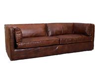 sofa karly 220x100cm walnuss echtleder 3 sitzer ledercouch ledersofa lounge sofa. Black Bedroom Furniture Sets. Home Design Ideas