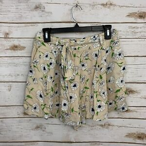 Anthropologie Moon River Cream Floral Tie Waist Shorts Size Large NWT