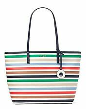 KATE SPADE TANYA BRIGHT MULTICOLOR STRIPE LEATHER TOTE WITH GOLDEN SPADE CHARM