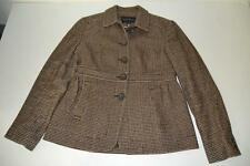 BANANA REPUBLIC BROWN HOUNDSTOOTH WOOL PLAID JACKET WOMENS SIZE 6