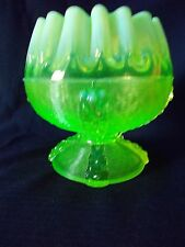NORTHWOOD GLASS CO BUTTON PANELS VASELINE OPALESCENT ROSEBOWL VASE
