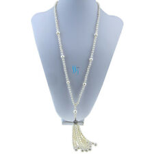 "28"" 5-9mm White AA Freshwater Pearl Necklace Tassel Jewelry"