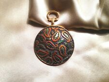 Karu Arke Pocket Watch Design Metallic & Gold Tones Paisley Vintage Pin Brooch