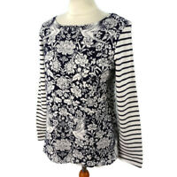 Joules 12 Black White Floral Birds Long Sleeve Heavy Cotton Floral Top Womens