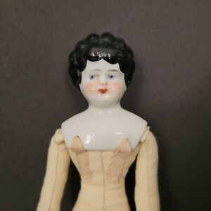 """Antique German China Head Doll Cloth Body 11"""" All Over Curls Low Forehead 1890's"""