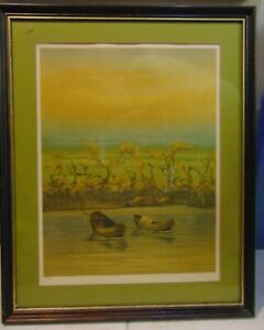 """ROBERTO RIGHI STONE LITHO """"TWIN BOATS AT SUNRISE"""" SIGNED, NUMBERED & FRAMED"""
