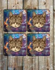 Space Kitty Novelty Drink Coasters Set of 4 Non Slip Neoprene Cat Coasters