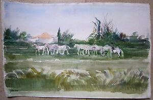 aquarelle de Guy Fantou troupeau de chevaux