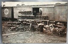 c 1910 ILLINOIS CENTRAL RAILROAD Wrecked FREE SEWING MACHINE Advertisng Postcard