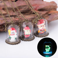 Special Gift Glow In The Dark Snowman Glass Luminous Bottle Pendant Necklace LD