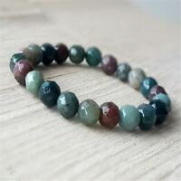 8mm Indian Agate Gemstone Beads Handmade Bracelet Bangles Religious Wristband