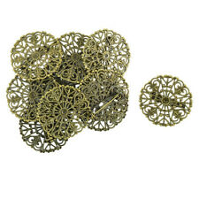 10pcs Filigree Flower Blank Brooch Settings Lapel Pin Safety Pins Base Bronze