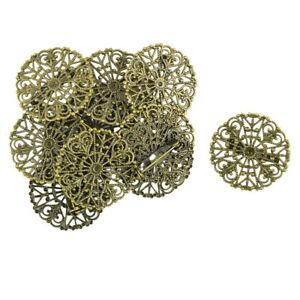 10pcs Filigree Flower Blank Brooch Settings Lapel Pin Safety Pins Base Bronze