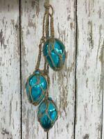 (3) Small Oblong Aqua Glass Fishing Floats On Rope ~ Nautical Decor ~Light Blue