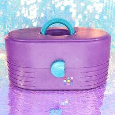 Vintage 80's 90's CABOODLES Purple Teal Make-Up Vanity Case w/ Mirror 2615 I033