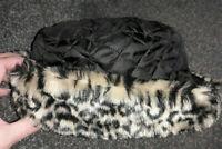 PUNK/ROCK CHIC Animal Leopard Print Faux Fur Hat Size 58cm.LINED.BLACK CONTRAST