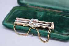 Vintage 18ct gold tie clip initialed ' G ' studded with Diamonds 7.03g #Y148