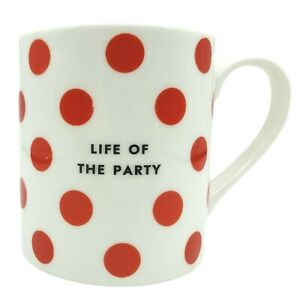 Kate Spade Mug Chic Speak Life of the Party Lenox Coffee Mug Red Polka Dots