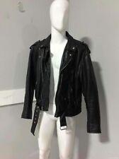 Mens Black Leather Biker Jacket Size 44