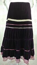 VTG 90s Velour Gypsy Tier Skirt Purple Velvet Lace Ribbon Ruffles Hippie Goth S